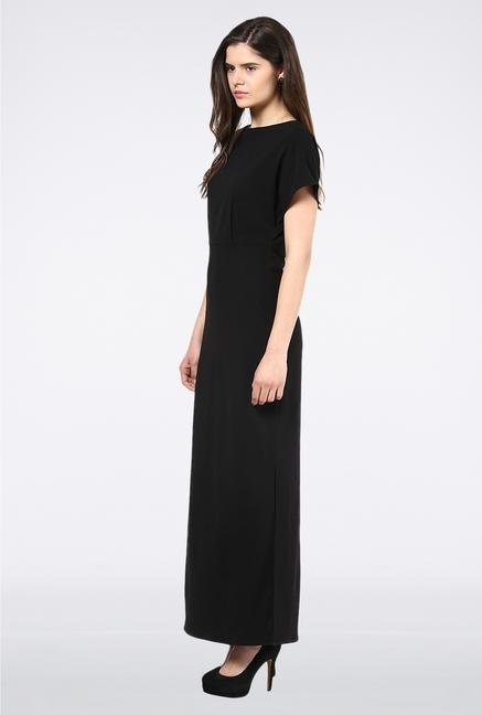Femella Black Maxi Dress With Zipper Detail