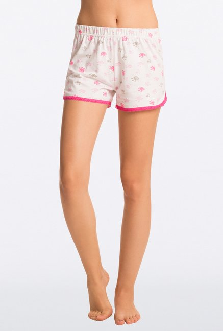 Pretty Secrets White Printed Shorts