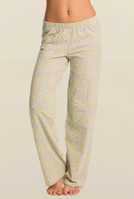 Pretty Secrets Yellow And Blue Heart Print Pajama