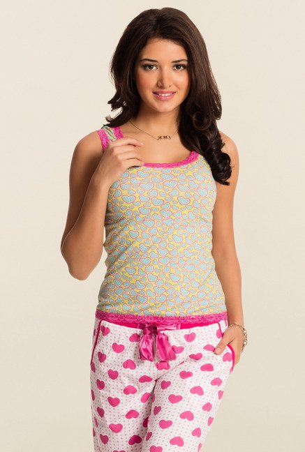 Pretty Secrets Lime And Blue Heart Print Tank Top