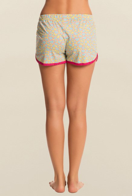 Pretty Secrets Yellow And Blue Heart Print Shorts