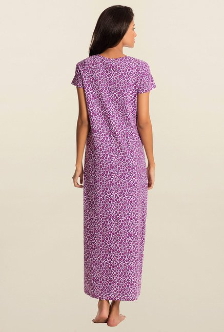 Pretty Secrets White And Purple Animal Print Night Dress