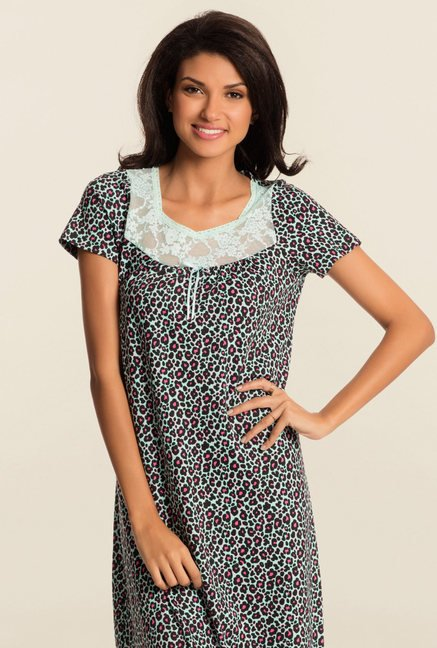Pretty Secrets Mint Green Animal Print Night Dress