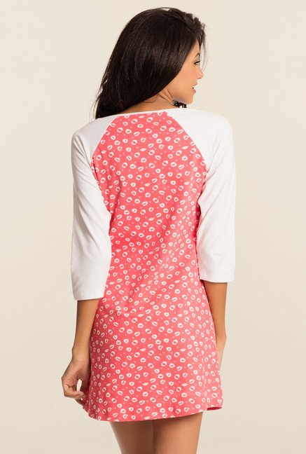 Pretty Secrets Coral And White Printed Night Shirt