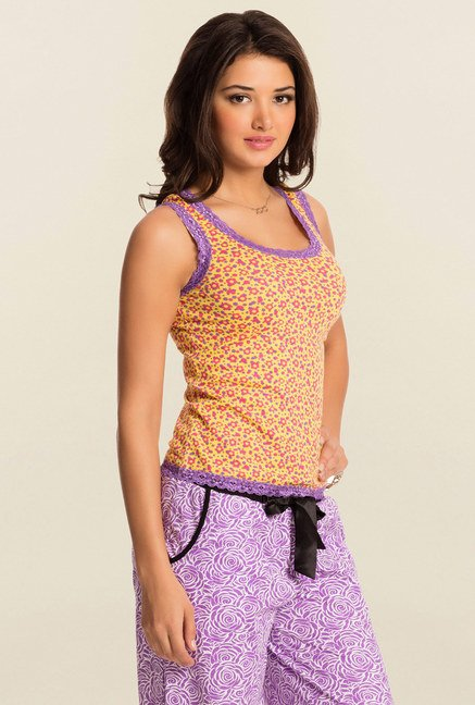 Pretty Secrets Yellow Floral Tank Top