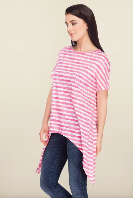 Femella Pink & White Striped Top