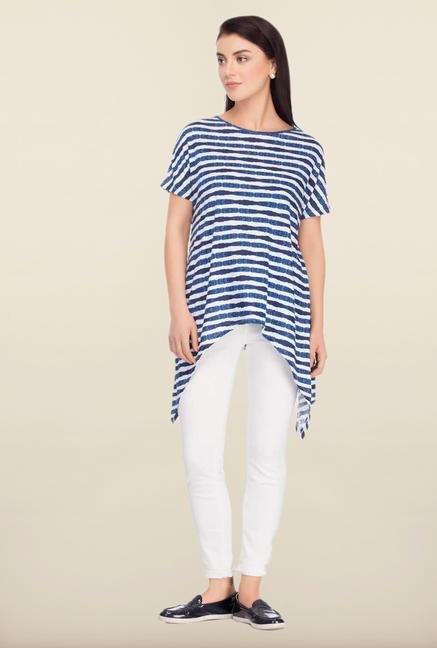 Femella Blue & White Striped Top