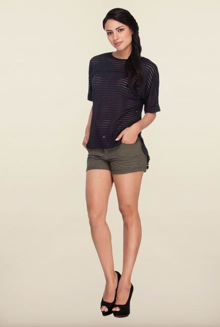 Femella Navy Striped Back Slit Boxy Top