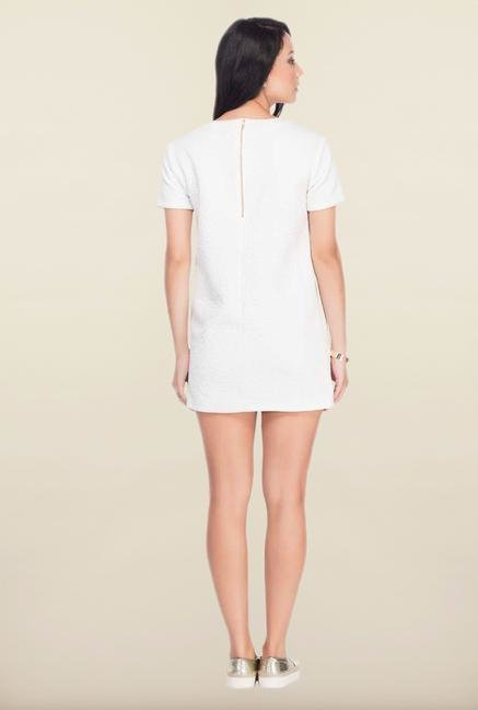 Femella White Solid Quilted Dress