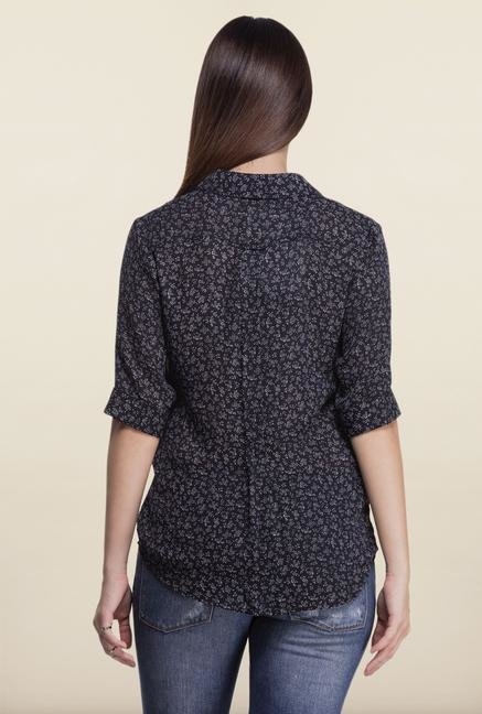 Femella Navy Printed Shirt