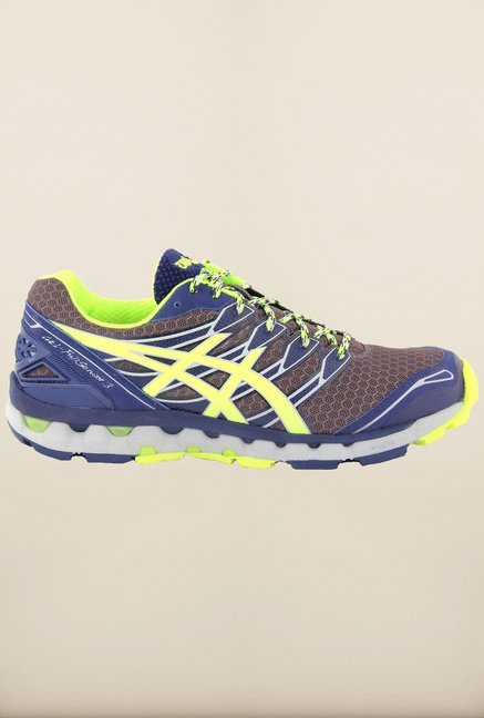 Asics Grey & Blue Running Shoes