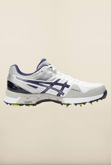 Asics White and Blue Cricket Shoes