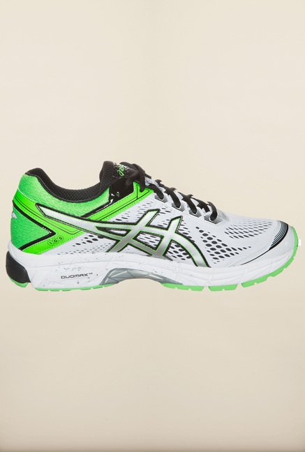 Asics White and Green Running Shoes