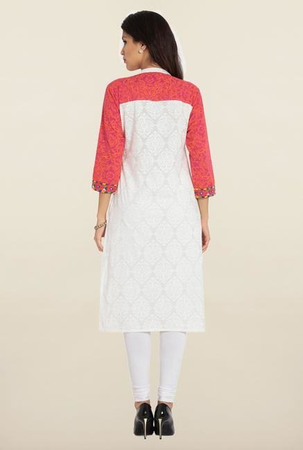 Soch White & Orange Embroidered Cotton Kurta