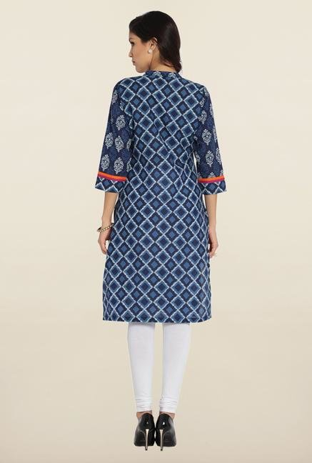 Soch Indigo & White Printed Cotton Kurta