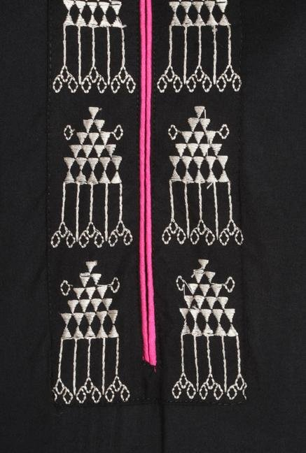 Soch Black & White Embroidered Kurta