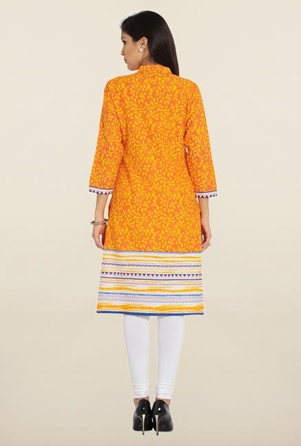 Soch Orange & Yellow Printed Cotton Kurta