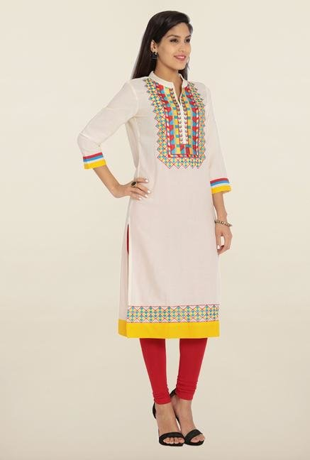 Soch Cream & Yellow Rayon Kurta
