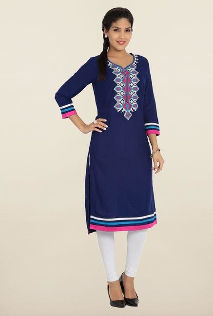 Soch Royal Blue & White Embroidered Kurta