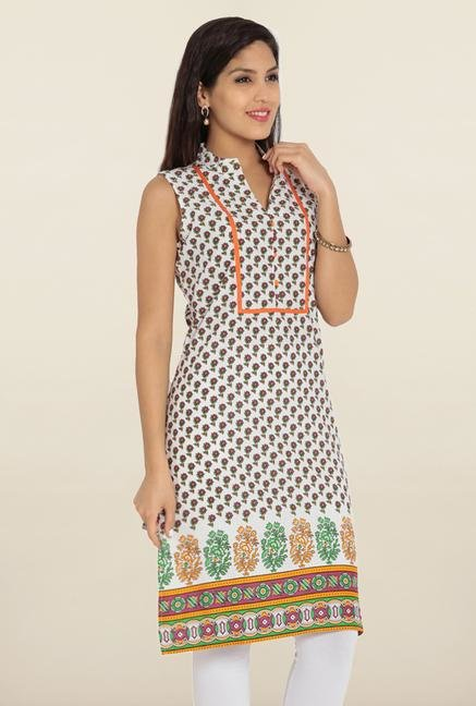 Soch White & Orange Floral Printed Kurta