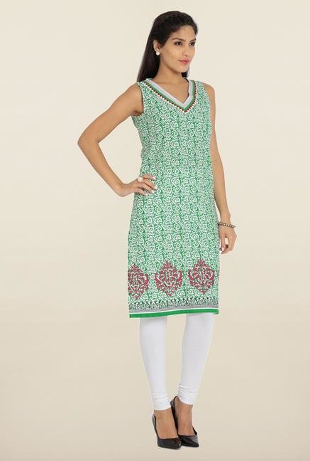 Soch Green & White Printed Kurta