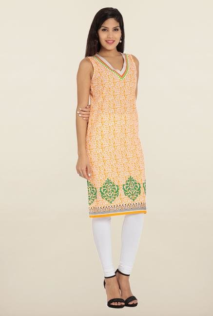 Soch Orange & White Printed Kurta