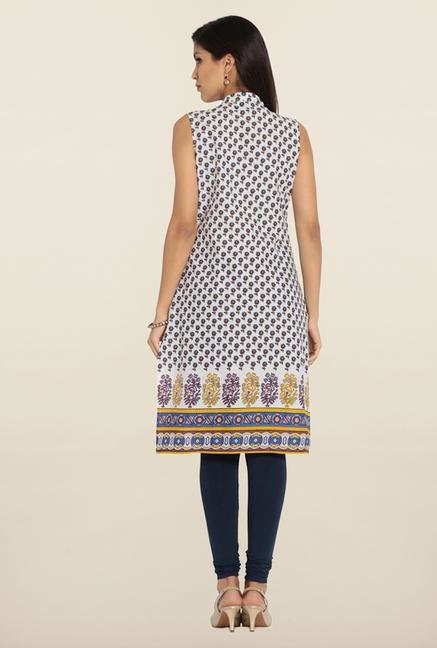 Soch White & Yellow Floral Printed Cotton Kurta