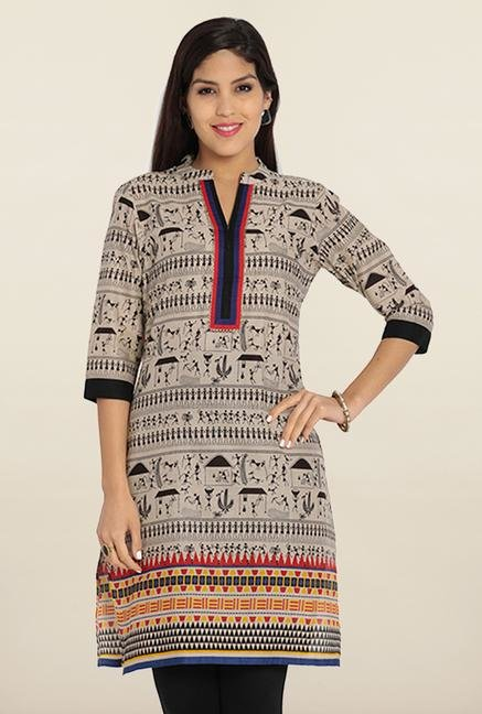 Soch Beige & Black Printed Cotton Kurta