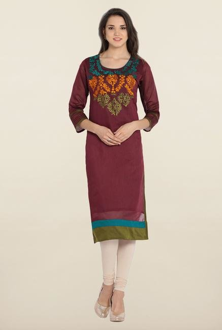 Soch Brown & Green Chanderi Silk Kurta