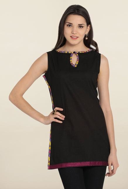 Soch Black Printed Cotton Kurti