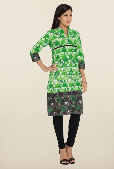 Soch Green & White Embroidered Cotton Kurta