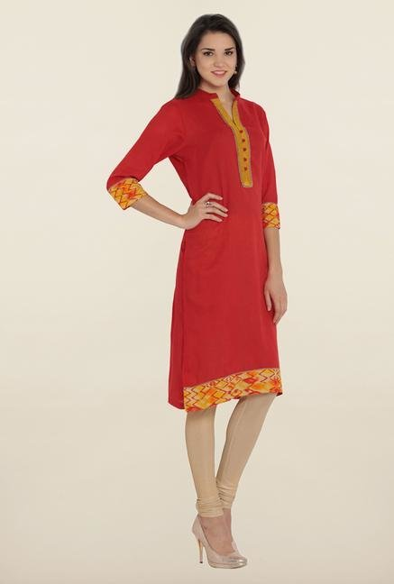 Soch Red & Yellow Embroidered Kurta
