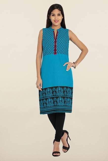 Soch Blue & Black Printed Cotton Kurta
