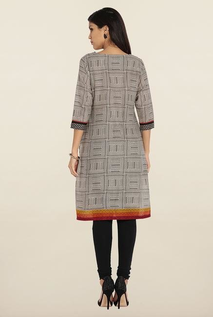 Soch Cream & Black Printed Cotton Kurta