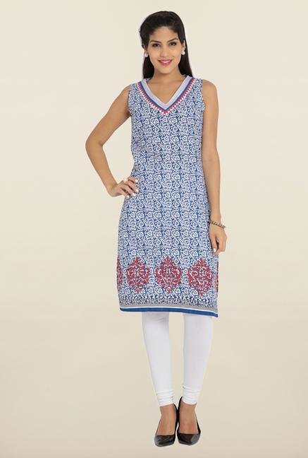 Soch Royal Blue & White Printed Cotton Kurta