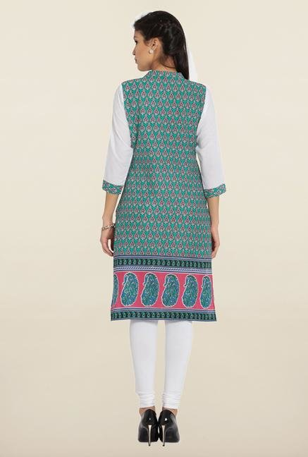 Soch Green & White Printed Cotton Kurta
