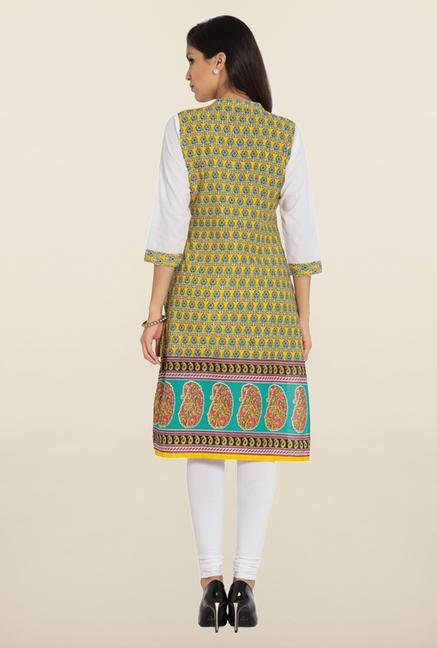 Soch Yellow & White Printed Cotton Kurta