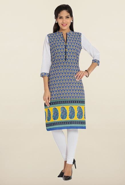 Soch Royal Blue & White Printed Kurta