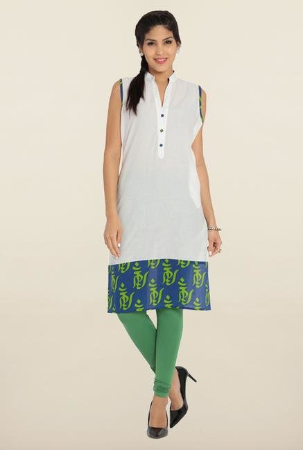 Soch White & Blue Printed Cotton Kurta