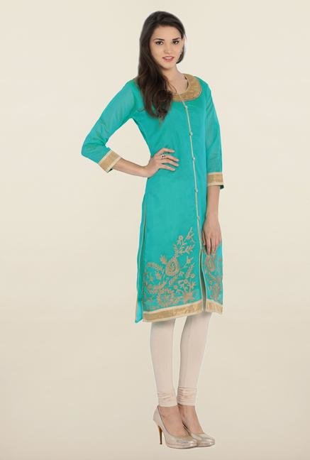 Soch Teal & Gold Chanderi Silk Kurta