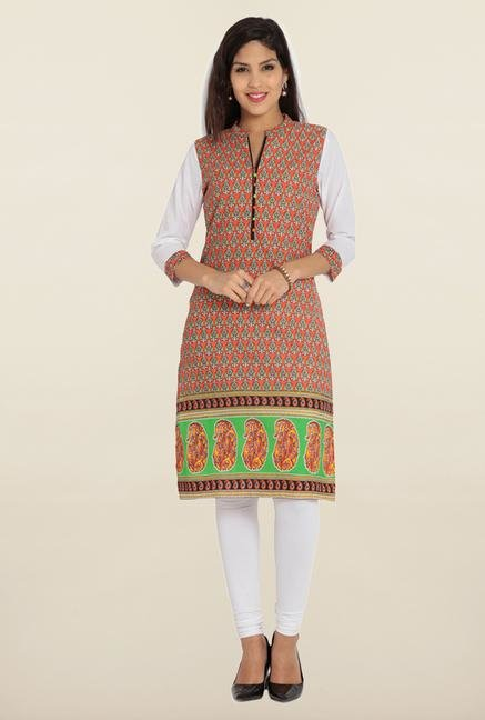 Soch Orange & White Printed Cotton Kurta