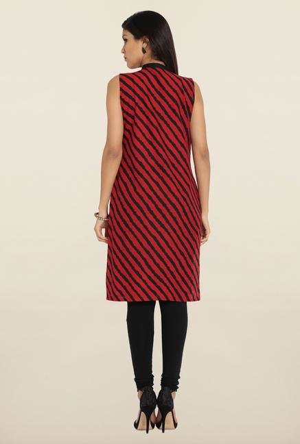 Soch Red & Black Stripes Cotton Kurta