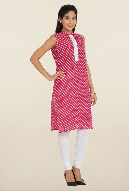 Soch Pink & White Stripes Cotton Kurta