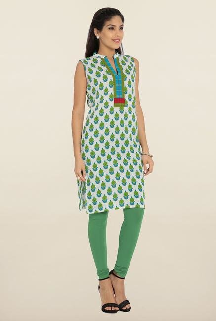 Soch White & Green Printed Cotton Kurta