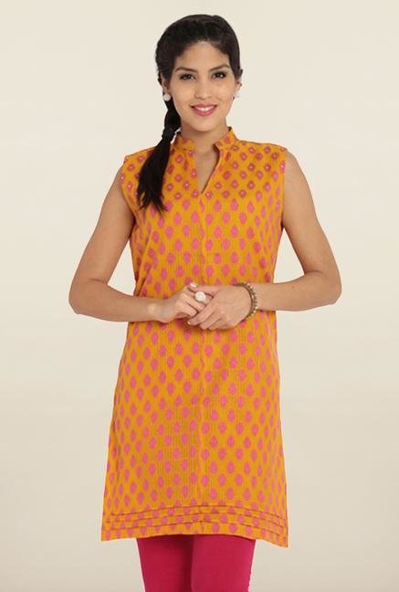 Soch Gold & Pink Printed Cotton Kurta