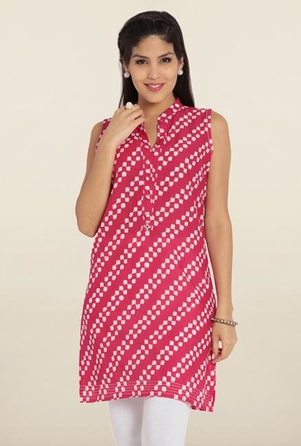 Soch Pink & White Printed Cotton Kurta