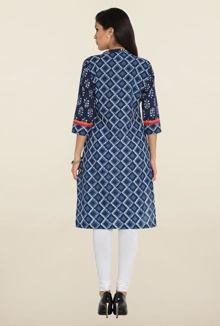 Soch Indigo & White Cotton Kurta