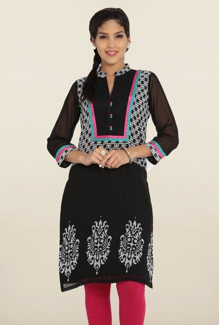 Soch Black & White Printed Kurta