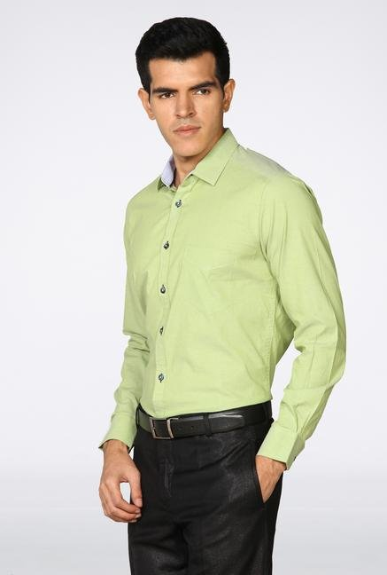 Provogue Green Solid Casual Shirt
