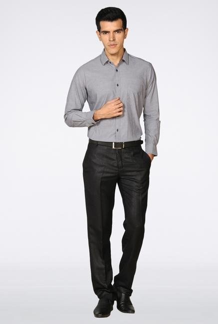 Provogue Grey Solid Casual Shirt